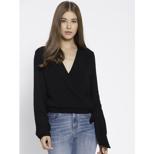 MANGO Women Black Solid Wrap Top