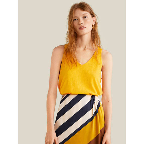 MANGO Women Mustard Yellow Solid A-Line Top