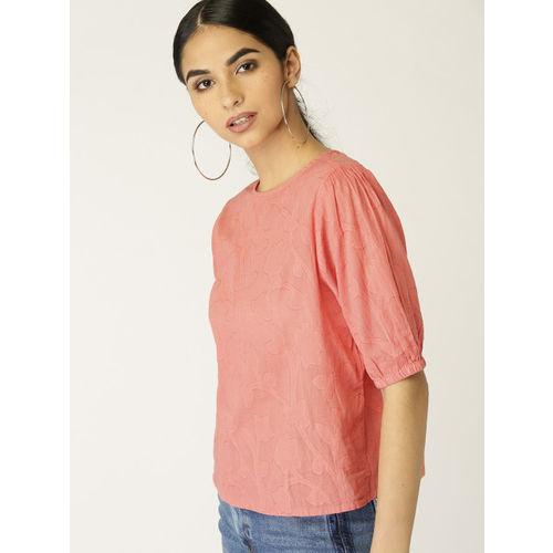 MANGO Women Coral Pink Self Design Boxy Top
