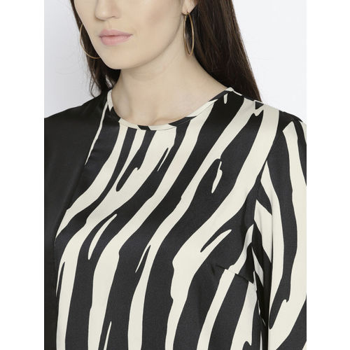 MANGO Women Off-White & Black Printed Top
