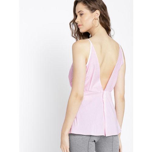 MANGO Women Pink Striped Layered Styled Back Top