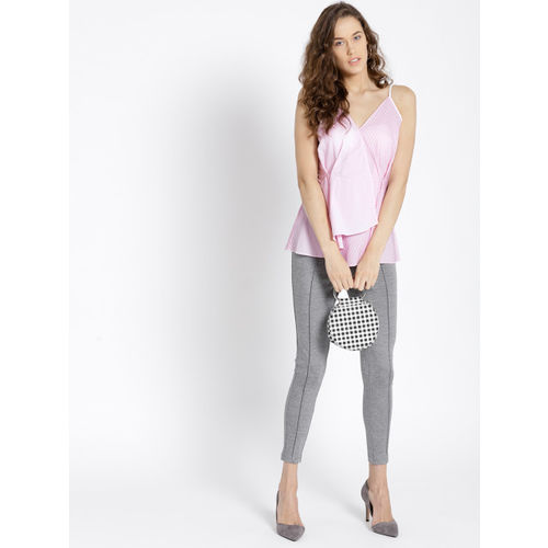 MANGO Women Pink Striped Layered Styled Back Top