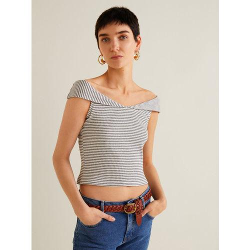 MANGO Women Off-White & Navy Blue Striped Bardot Top