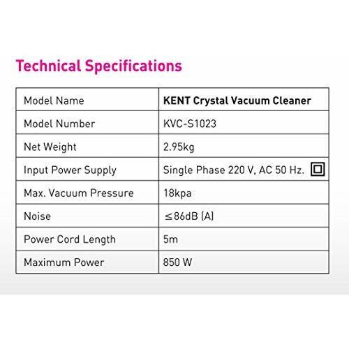 KENT Crystal Vacuum Cleaner 850-Watt (White & Blue)