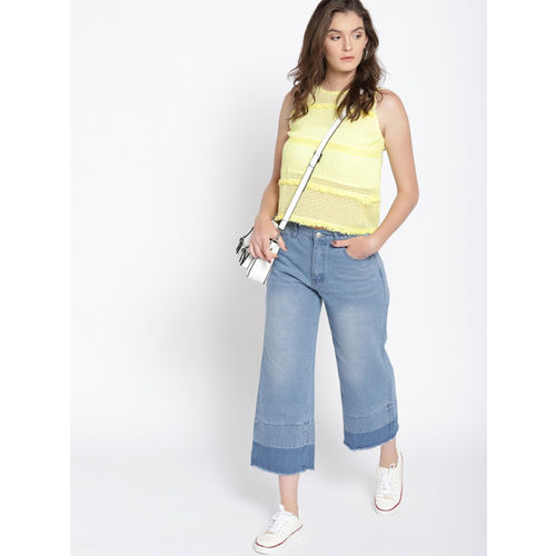MANGO Women Yellow Self-Striped Top