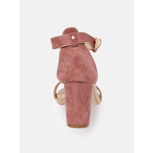 DressBerry Women Pink Velvet Solid Heels
