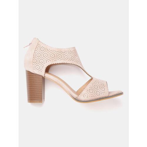 Roadster Women Pink Perforated Detail Block Heels