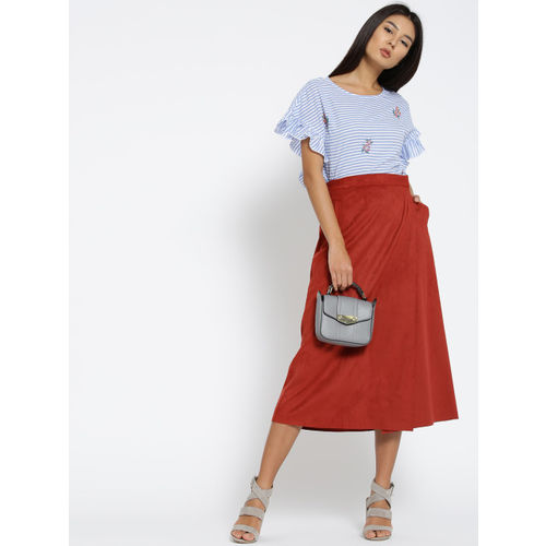 MANGO Women Blue Striped Boxy Top with Frills