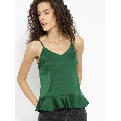 MANGO Women Green Solid A-Line Top