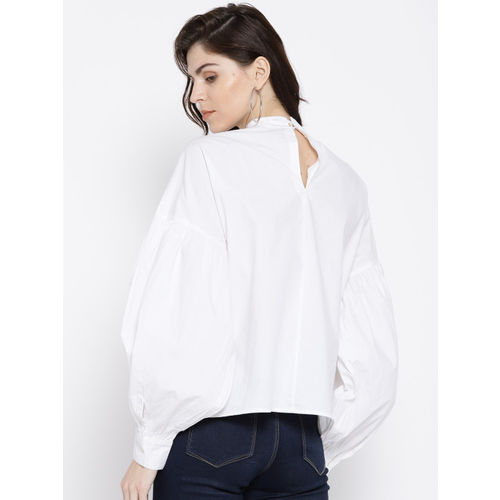 MANGO Women White Embellished Top