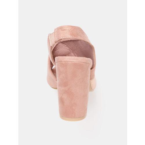 Mast & Harbour Women Pink & Rose Gold-Toned Solid Block Heels