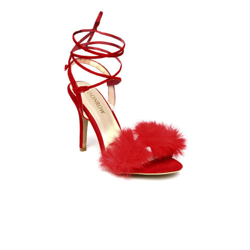 Monrow Women Red Solid Heels with Faux Fur Trim