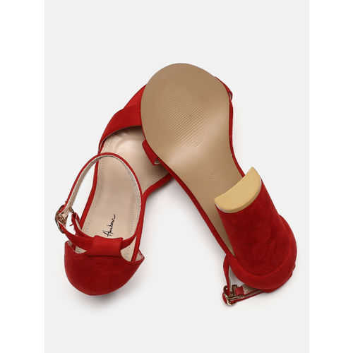 Mast & Harbour Women Red Solid Block Sandals