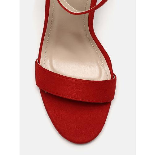Mast & Harbour Women Red Solid Block Sandals