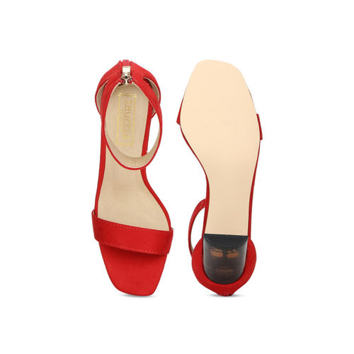 Truffle Collection Women Red Solid Peep Toes