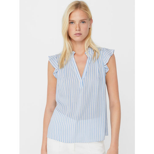 6160cf13b6 Buy MANGO Women Blue Striped Shirt Style Top online   Looksgud.in