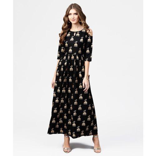 Libas Women Black & Golden Block Print Maxi Dress