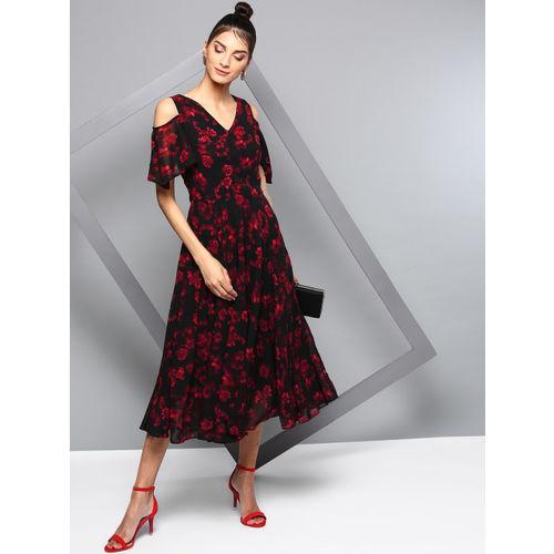 RARE Women Black Printed A-Line Dress