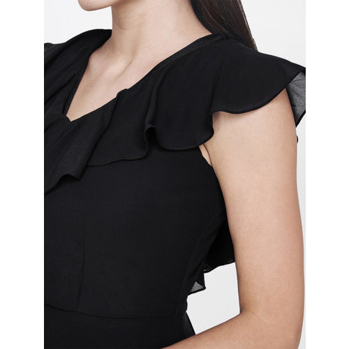 AND Women Black Solid A-Line High-Low Dress