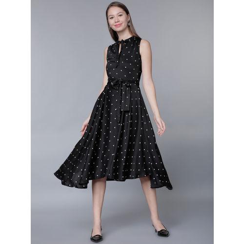 Tokyo Talkies Women Black Polka Dot Print Fit and Flare Dress