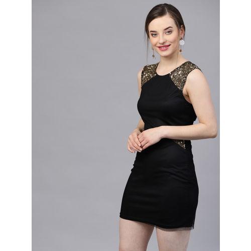 20a8ebd6af Buy STREET 9 Women Black Solid Semi Sheer Net Sheath Dress online ...