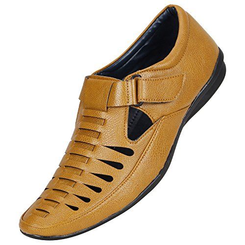 Emosis Men Tan Casual Ethnic Slip-On Sandal Shoes