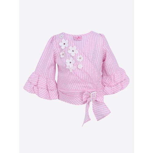 CUTECUMBER Girls Pink Striped Blouson Top