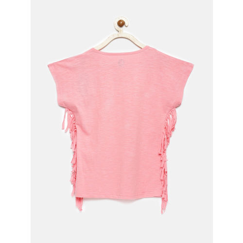 YK Girls Pink Printed Boxy Top