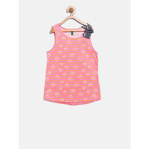 United Colors of Benetton Girls Pink & Orange Striped Top