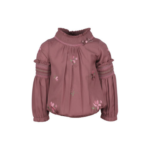 CUTECUMBER Girls Pink Self Design Blouson Top