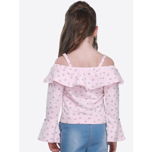 CUTECUMBER Girls Pink Printed Top