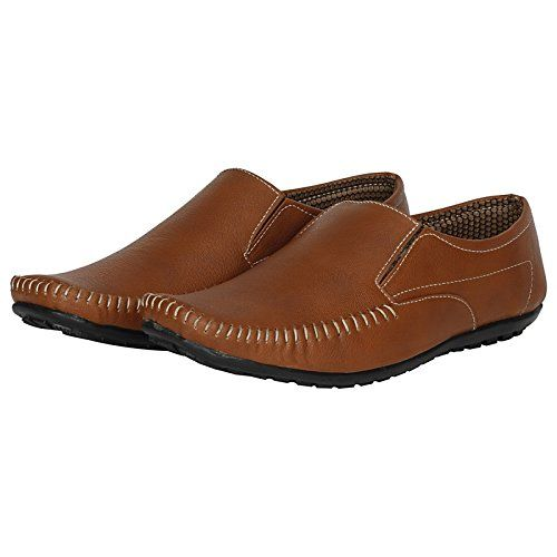 Emosis Men's Stylish 0111 Tan Brown Black Colour Outdoor Formal Casual Loafer Moccasin Slip-On Shoe