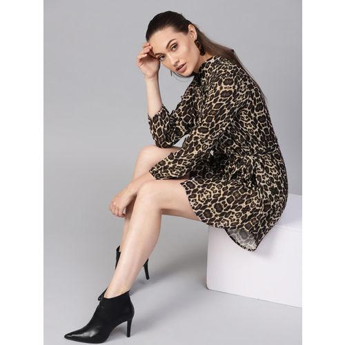 SASSAFRAS Women Black & Beige Animal Print Mini Shirt Dress
