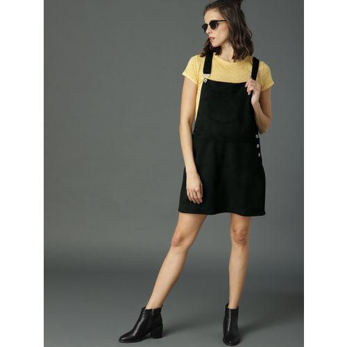 Roadster Women Black Solid Pinafore Dress