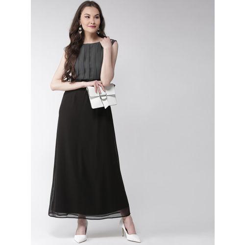 MISH Women Black & Charcoal Grey Colourblocked Maxi Dress