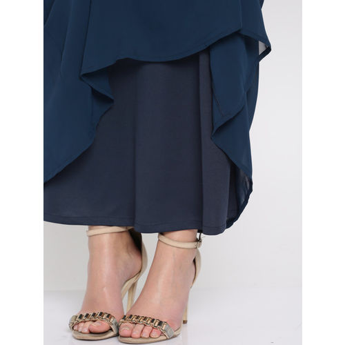 RARE Women Navy Solid Maxi Dress with Embellished Neck