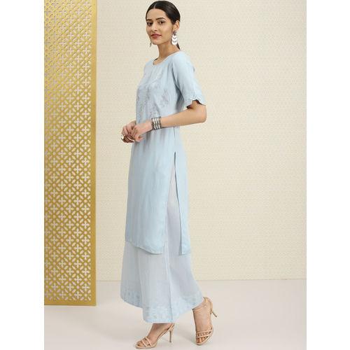 House of Pataudi Women Blue Woven Design Straight Kurta