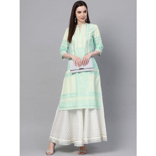 W Women Blue & Off-White Printed Straight Kurta