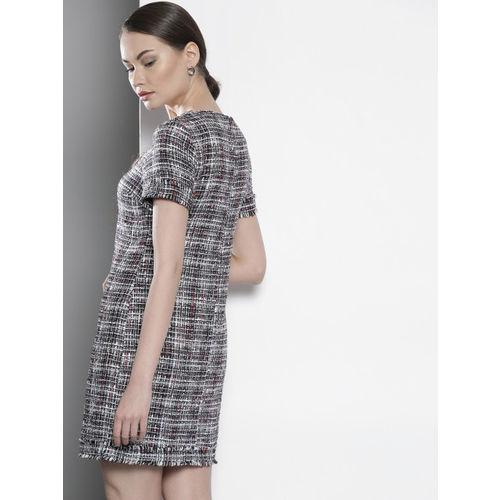 DOROTHY PERKINS Women Navy Blue & White Checked Sheath Dress
