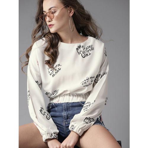 Moda Rapido Women Off-White Printed Blouson Crop Top