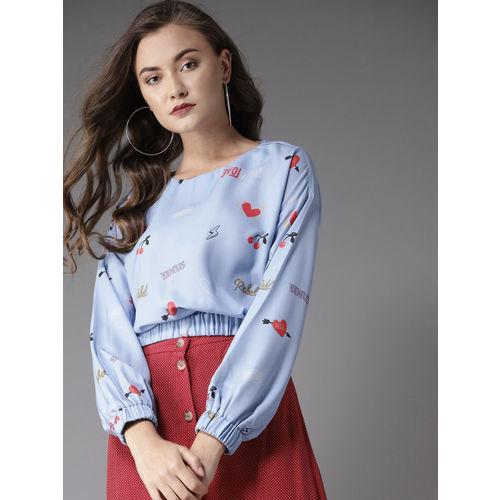 Moda Rapido Women Blue Printed Blouson Top