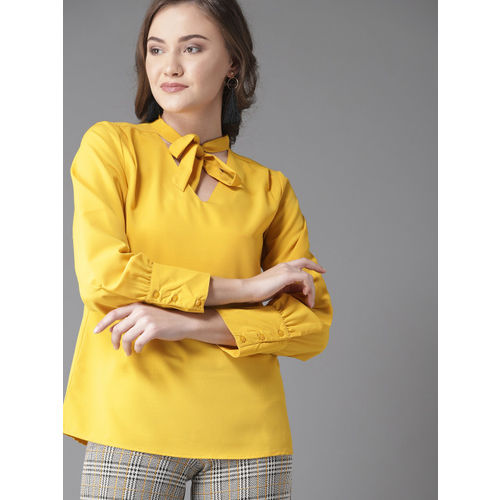 Moda Rapido Women Mustard Solid Top