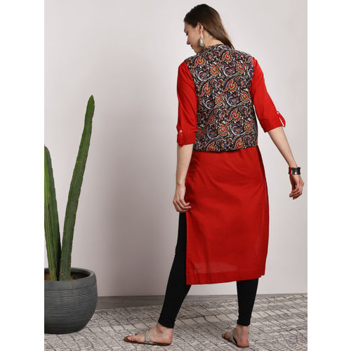 Sangria Women Black & Red Solid Straight Kurta With Jacket