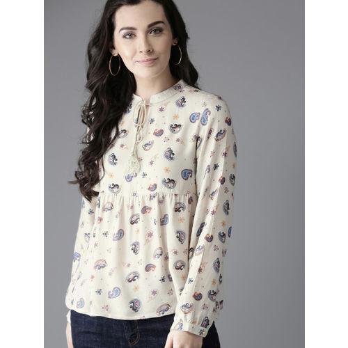 Moda Rapido Women Off-White Printed A-Line Top