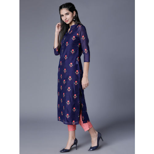 Vishudh Women Navy Blue & Pink Printed Straight Kurta