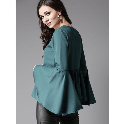 Moda Rapido Women Green Solid A-Line Top