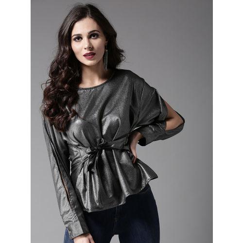 Moda Rapido Women Charcoal Grey Shimmer Cinched Waist Top