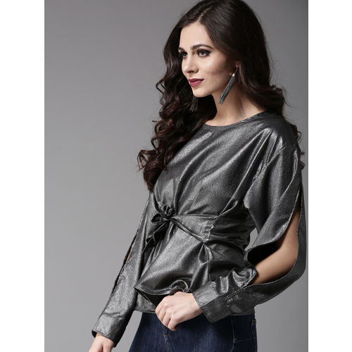 Moda Rapido Women Charcoal Grey Shimmer Cinched Waist Top