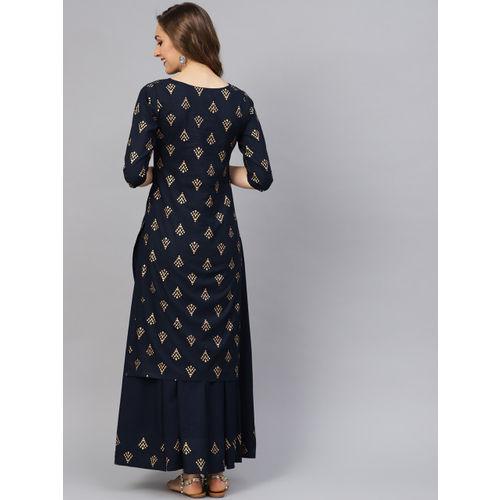 Idalia Women Navy Blue & Golden Printed Kurta with Skirt