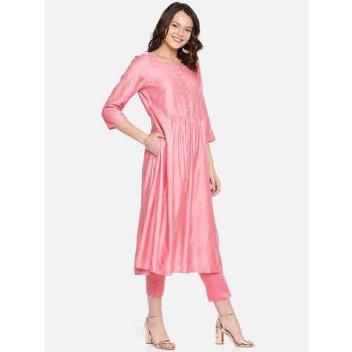 Melange by Lifestyle Women Pink Printed A-Line Kurta